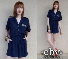 #Vintage #80s #Navy #Nautical #Sailor #Shorts #Romper XS S by shopEBV http://etsy.me/135PRQ6 via @Etsy #etsy #shopEBV #cute #fashion #style by shopEBV, $55.00