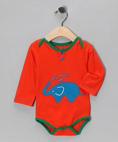 Orange Elephant Mini Monsoon Bodysuit - Infant