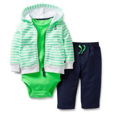 Carter& Boys 3 Piece Striped Hooded Zip Up Terry Cardigan, Bodysuit, and Terry Pant Set - Carters - Babies & Us Baby Outfits, Toddler Outfits, Kids Outfits, Cool Baby, Baby Boy Fashion, Kids Fashion, Niñas Carters Baby, Baby Kids Clothes, Swagg