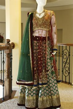 ON SALE> Emerald Maroon Lehenga Maroon Jacket, Pink Jacket, Jacket Lehenga, South Asian Bride, Lehenga Collection, Desi Clothes, Asian Style, Indian Wear, Indian Fashion