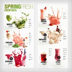 Menu Spring cocktails - bar PEOPLES on Behance