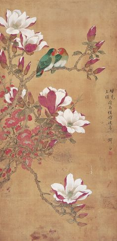 邓白 ~ Deng White (1908 to 2003) ~ 玉兰双鹦 镜心 设色绢本 作者 / Magnolia double parrot Figure ~ Chinese
