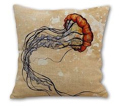 18'Inches OneMtoss Cotton Linen Square Jellyfish Series Throw Pillow Case Cushion Cover for Sofa