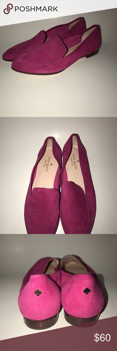 Kate spade pink flats Kate spade pink flats size 7m.  HAS WATER MARKS ON SHOES. CAN BE CLEANED OFF WITH SUEDE CLEANER. ALSO -- MARKER ON BOTTOM OF ONE SHOE. SMALL FLAWs. Other than that perfect condition. kate spade Shoes Flats & Loafers