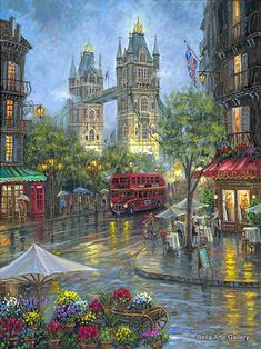 """Robert Finale Artist Signed Limited Edition Sublimation on Metal:""""Rainy Days of London - Color"""" Artist: Robert Finale Title:: Rainy Days of London - Color Size: x Edition: Artist Signed and Numbered, Limited to Certificate Of Authenticit Kinkade Paintings, Thomas Kinkade, London Art, Beautiful Paintings, Watercolor Illustration, Oeuvre D'art, Rainy Days, London England, Art Pictures"""