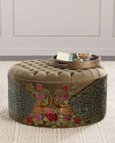 Shop Round Peacock Ottoman from Haute House at Horchow, where you'll find new lower shipping on hundreds of home furnishings and gifts. Wicker Ottoman, Round Ottoman, Leather Ottoman, Chair And Ottoman, Chair Cushions, Living Room Seating, Living Room Chairs, Living Rooms, Bedroom Ottoman