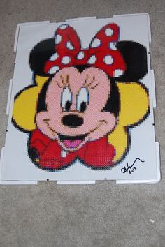 minnie mouse perler bead art made by me - amanda wasend