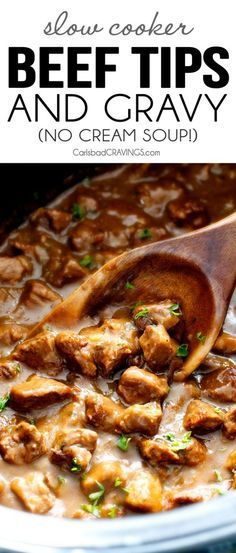 """Ridiculously tender, Homemade Slow Cooker Beef Tips and Gravy (without any """"cream of"""" anything!) is richly satisfying, comforting and flavorful and the perfect make ahead meal for busy weeknights! I also love serving it for special occasions or holidays b Crock Pot Recipes, Beef Steak Recipes, Beef Recipes For Dinner, Beef Meals, Stewing Beef Recipes, Oven Recipes, Sirloin Recipes, Beef Sirloin, Kabob Recipes"""