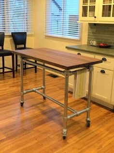 DIY Kitchen Rolling Table - smaller for a rolling cart next to the stove