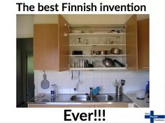 Under the cupboard, too! Outdance The Devil: Things I Like About Finland Concealed Dish-Draining Cupboard Kitchen Sink Organization, Sink Organizer, Kitchen Storage, Storage Area, Diy Storage, Kitchen Organization, Storage Organization, Kitchen Dishes, Kitchen Cupboards