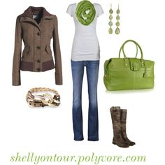 I'm a big fan of the browns and greens together. Favorite pieces are the boots and the jacket. The purse is nice too.