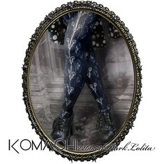 "【KOMACHI2266531DarkLolita x minpha (PENTAGON)  Collaboration Tights  ""Frozen Breath""】   ✝ 100% made in JAPAN ✝    This design comes from the image of a pale moonlight sky as seen from the window of a church on a snowy night. A world imprisoned in barbed wire, a holy night of immorality. ✝ Fits PLUS and TALL sizes too! ✝ Buy it now at http://www.galaxybroadshop.com/products/detail.php?product_id=695"