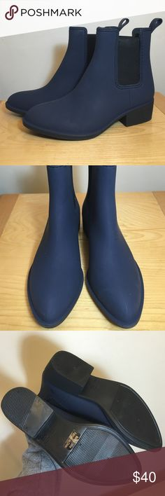 NWOT Jeffrey Campbell matte navy blue rain booties Brand new never worn! Size 8. Price is FIRM Jeffrey Campbell Shoes Ankle Boots & Booties