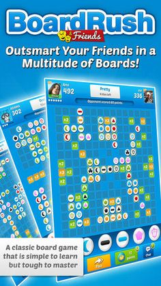 BoardRush & Friends for iPhone, iPad, iPod Touch and Android devices, is a super social and mobile battle of boards! Your ammunition? Multi-colored tiles with different symbols, a huge selection of boards and a wicked board designer!