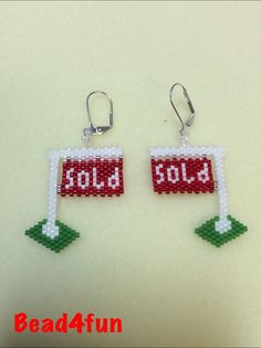 Beaded Earrings Cute Realtor Yard Signs by Bead4Fun on Etsy