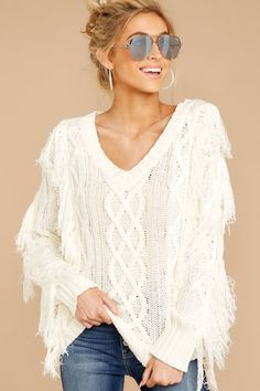 Stylish White Fringe Sweater - Trendy Cable Knit Sweater - Top -  54 – Red  Dress 4cfa5fb52