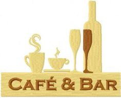 Cafe and Bar logo free machine embroidery design. Machine embroidery design. www.embroideres.com