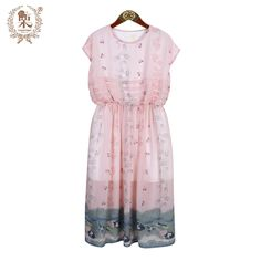 ==> [Free Shipping] Buy Best Mori Girl Style Vintage Floral Print pink white color Accept waist lady dress Small Fresh Literary Range Lolita o-neck dress Online with LOWEST Price | 32674871481