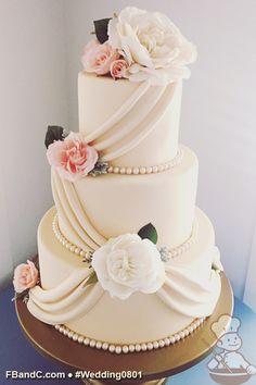 "Design W 0801 | Fondant Cream Wedding Cake | 12""+9""+6"" | Serves 100 | Fondant Draping, Glass Bead Trim | Custom Quote"