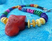 coral rainbow necklace set
