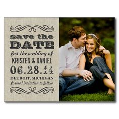 Announce your wedding in style with these vintage chic photo save the date postcards!  Features mixed typography and elegant scroll design accents.  Personalize with your custom text (front and back) and favorite engagement photo.  Color scheme: charcoal gray / black on a neutral linen / burlap textured look background.