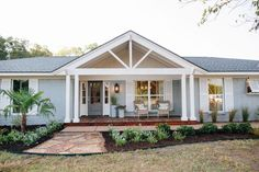 Architecture Front Porch Addition On Dutch Colonial Great Ranch Types Small . ideas for ranch style homes front porch patios. front porch on ranch house plans. Front Porch Addition, Front Deck, Front Porch Design, Porch Designs, Front Entry, Front Doors, Garage Doors, House With Porch, Magnolia Homes