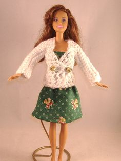 Barbie White Sparkle Crocheted Sweater with by debbisdresses