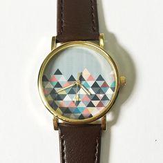 Pastel Geometric Mountain  , Vintage Style Leather Watch, Women Watches, Unisex Watch, Boyfriend Watch, Men's Watch, Ladies Watch