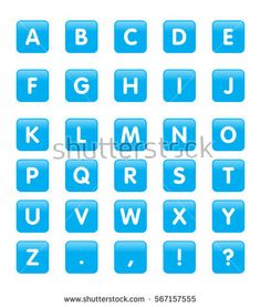 Vector Alphabet Rounded Square Icons or Buttons Computer Keyboard, Tiles, Icons, Buttons, Wall Tiles, Computer Keypad, Keyboard Piano, Tile, Ikon