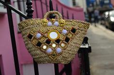 """Quadretti Vichy""  Sicily Bag. Sicilian straw Coffa bag adorned with Pom Poms.  Shop all styles on Sicilybag.com"
