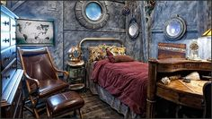 Needless to say, the steampunk interior design style certainly creates an entirely new look in a . These are a must for a steampunk bedroom. Casa Steampunk, Steampunk Interior, Steampunk Bedroom, Steampunk Home Decor, Steampunk Furniture, Steampunk Gears, Steampunk Ceiling Fan, Steampunk Makeup, Steampunk Drawing
