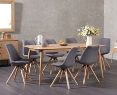 Newark 180cm Oak Dining Table with Ophelia Fabric Round Leg Chairs