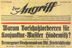 Der Angriff. Rotativo fundado por Joseph Goebbels.