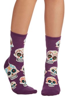 Get a Head Start Socks - Purple, Multi, Halloween, Quirky, Skulls, Knit, Novelty Print, Casual, Top Rated