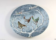 HAVILAND LIMOGES FRANCE 1972 Noel THREE FRENCH HENS #3 In The Series