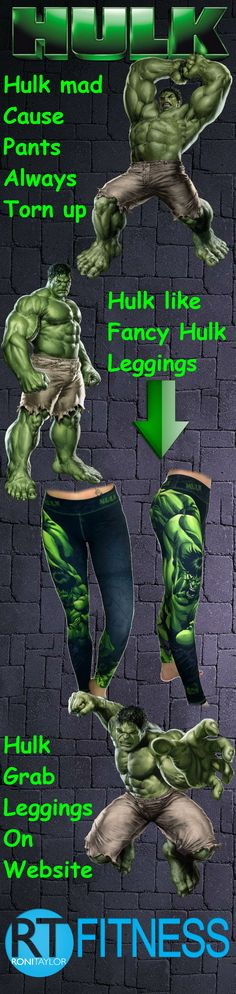 If you have a short temper, haven't had your morning coffee yet or it just so happens to be Monday...boy have we got the leggings for you!! Grab yourself a pair of these super fancy Hulk leggings and SMASH anyone who has the audacity to bother you before your venti latte has been poured down your throat.