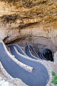 Carlsbad Caverns National Park is a United States National Park in the Guadalupe Mountains in southeastern New Mexico. The primary attraction of the park is the show cave, Carlsbad Cavern. Entrance to Carlsbad Caverns Places Around The World, Oh The Places You'll Go, Places To Travel, Places To Visit, Carlsbad Caverns New Mexico, Carlsbad Caverns National Park, New Mexico Usa, Land Of Enchantment, National Parks