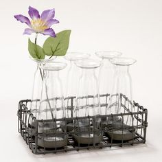 How cute is this wire caddy, with 6 glass bud vases?!