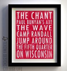 Wisconsin Badger Subway Scroll Art Print. $25.00, via Etsy.