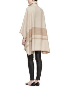 -5XBK Vince High-Collar Blanket Stripe Cape & Smooth Leather Leggings