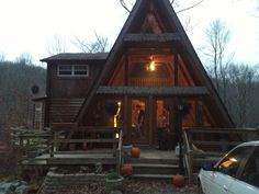 A-frame cabin in Ohio. The gorgeous house where my roommate's mother lives. This is basically my dream home.