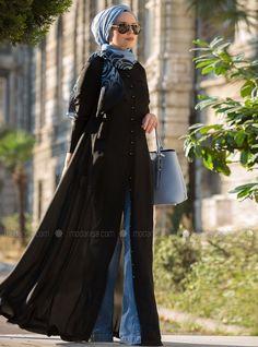 Maksi Tunik Düğmeli Elbise - Siyah - Muslima Wear