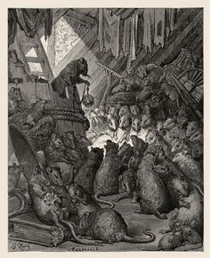 illustration, animal, rat, interior, lighting. Gustave Doré - The Council of Rats