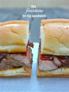 Firestone Tri Tip Sandwich. After working there for 4 years, I'd say her recipe is pretty accurate. Might want to add minced Garlic to the BBQ sauce to make it more like the real deal