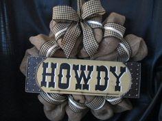western door reef | Burlap wreath, country wreath,door decor,western decor,howdy wreath ...