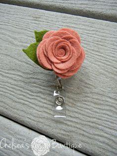 Pink Rose Badge Holder Nurse Badge Reel Free Shipping Spring Badge Holder ID Badge Holder Shabby Chic Pink Rose Name ID