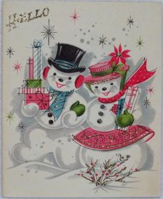 #915 50s Mid Century Glittered Snowman Couple-Vintage Christmas Greeting Card
