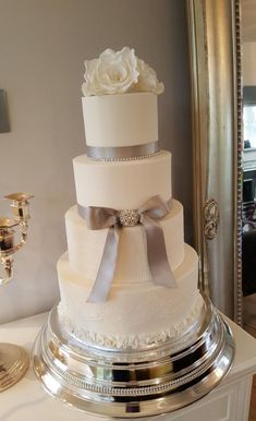Rose and Lace Wedding Cake by Klis Cakery - http://cakesdecor.com/cakes/301965-rose-and-lace-wedding-cake
