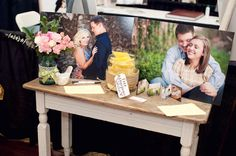 Raffle for free engagement session with print display, digging the jar with twine