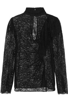 Black lace Button fastenings along back 100% nylon; trim: 100% silk Dry clean Imported